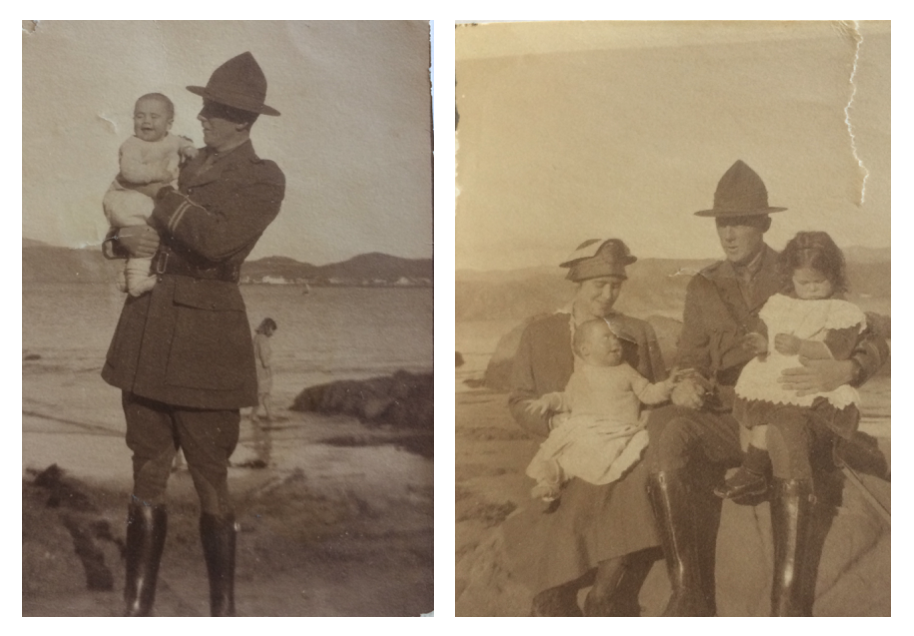 Dr John Gow holding his son James Gibson Gow, and with wife Dr Alice Gow and their children Edith Marianne Gow and James Gibson Gow at Worser Bay, Wellington, 1917.