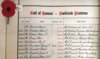The rolls of honour were handwritten by Major Percival Beaumont Greenhough who was in the New Zealand Field Artillery in WWI.