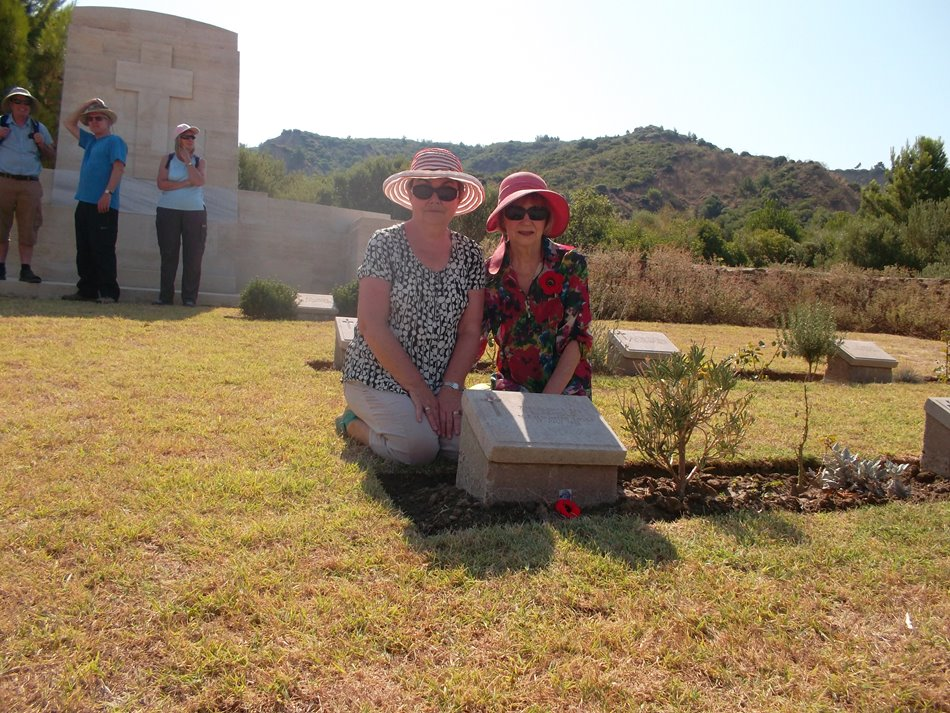 Elizabeth and Carolyn at Uncle Rory\u0027s grave. Canterbury Cemetery on 8 August 2015. Walker's Ridge is the high ground in the background. Carolyn Carr