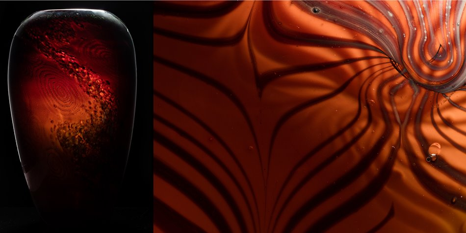 Left: A blown-glass vase by Billy Morris. The exterior, made from glass powder and dichroic glass decoration, is a deep green with swirls and splash patterns; the interior is an opaque red. Right: A close-up of a Garry Nash glass vase in transparent orange.
