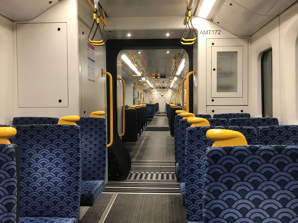 Empty train carriages on the Southern Line during Level 4 lock down, March 2020.