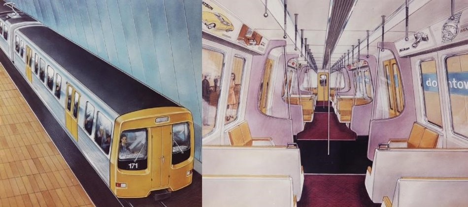 Exterior and interior concept design drawings for the Auckland Rapid Transit project, 1974.