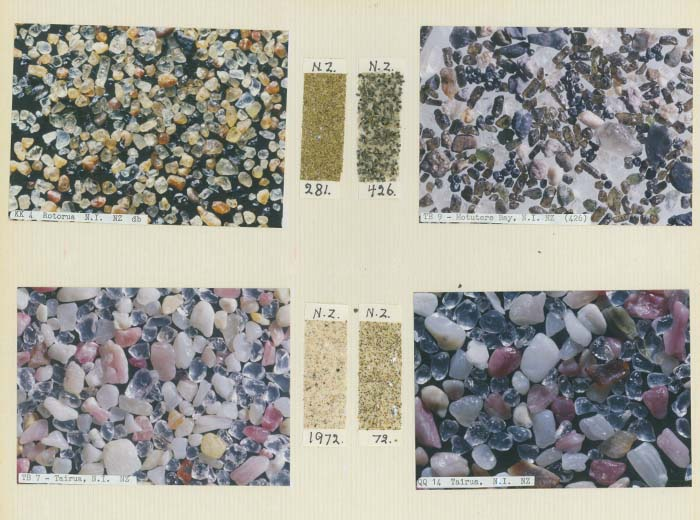A page from Tonny\u0027s catalogue, showing New Zealand sands with their catalogue patches and microscopic photos