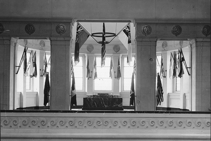 The World War One Sanctuary on the second floor of the museum, with flags of the Allied Nations who signed the Treaty of Versailles displayed around the windows.