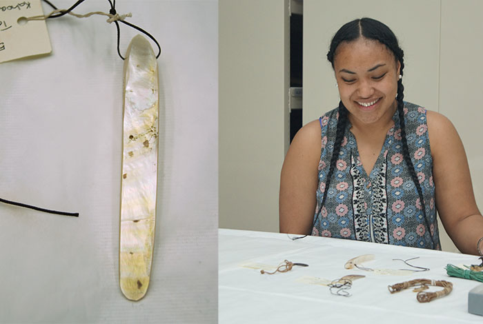 Left: Pa (neck ornament) Right: Luti Mekisa Fakaalofa selects pa to go on display.