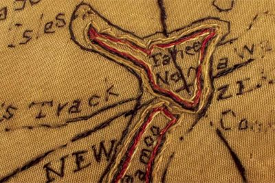Detail from sampler sewn by Martha Gibbons showing New Zealand and the use of Te Reo placenames. 1784.