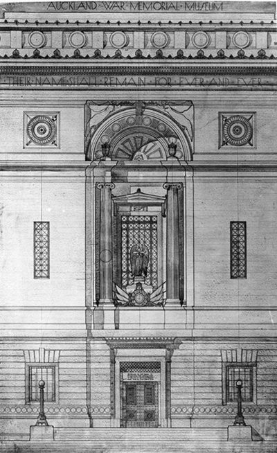 Architectural drawing of a niche on the exterior wall, with \u0027their names shall remain for ever and ever\u0027 inscribed above it.