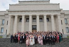 Bridal party on the front steps