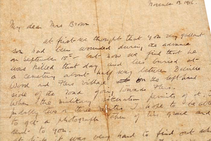 Letter from Chaplain Captain E. E. Malden, NZEF to Mrs Alice Brown of Auckland noting the known circumstances of Donald\u0027s death, dated 13 November 1916.