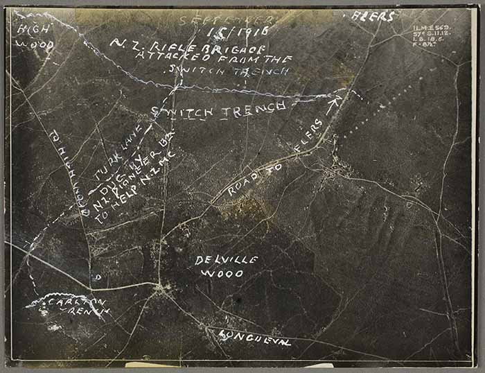 This photograph shows an aerial view of the Front with annotated areas of New Zealand engagement. From the Village of Longueval to Delville Wood, High Wood and on to Flers.