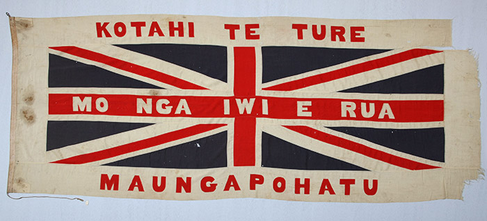 The Maungapōhatu flag before its return to Tūhoe.