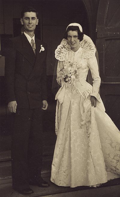Bruce Papas with his sister Dawn on her wedding day. Dawn is wearing a bridal gown designed by Bruce Papas.