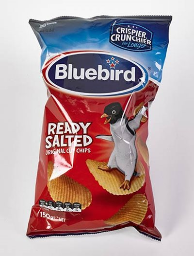 Bluebird chip packet, purchased 2015.
