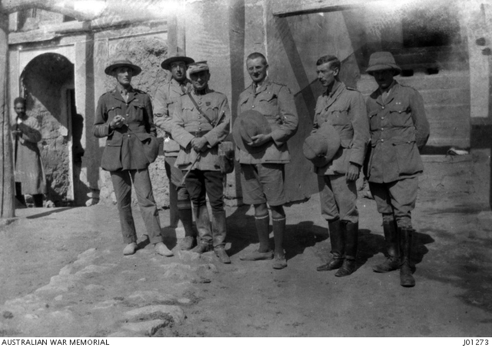 Portrait of six officers at the headquarters of Starne\u0027s Detachment (part of the Dunsterforce) at Bijar.
