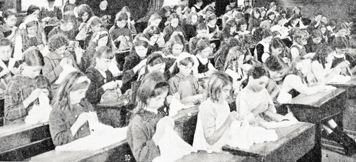 In schools across the country, children were busy sewing and knitting \u0027to relieve distress in Belgium and provide comforts for our hero soldiers\u0027.