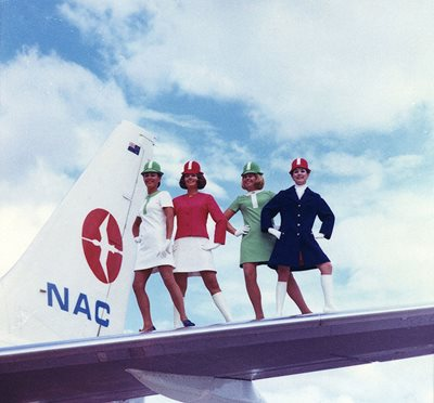 In 1970 NAC introduced brightly coloured mini dresses, worn with knee-high white boots or black loafers.