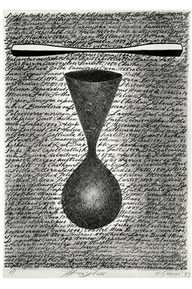 Hourglasss, Denis O\u0027Connor, 1999, lithograph. Collection of Auckland Museum, print O18.