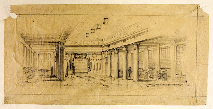 Concept drawing for the Hall of Memories. Grierson, Aimer and Draffin, 1923.