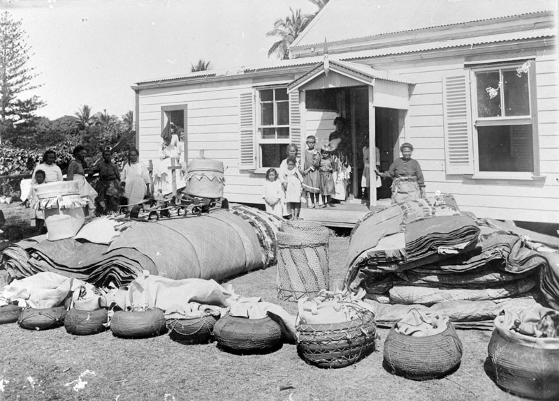 """Presentation of traditional valuables at a wedding, Tongatapu\""."