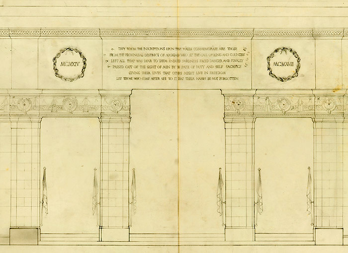 Working drawing of the Hall of Memories (detail)