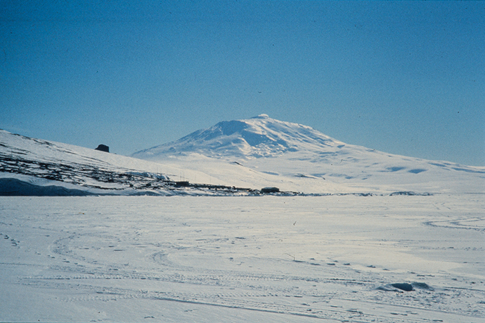 Unknown photographer (ca. 1957) - Scott Base with Mt Erebus, Antarctica