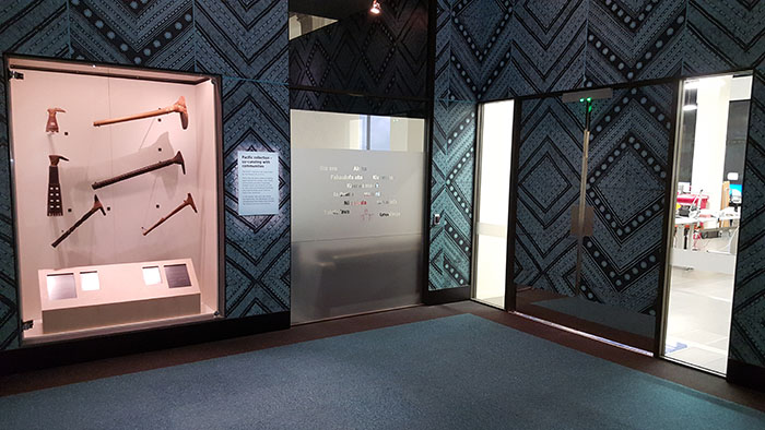 The display of Toki taraī (hafted adzes) outside the Pacific Collection Access Project space.
