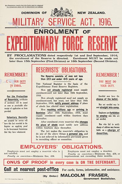 Posters advertising the Military Service Act 1916 described the obligations of men to register.