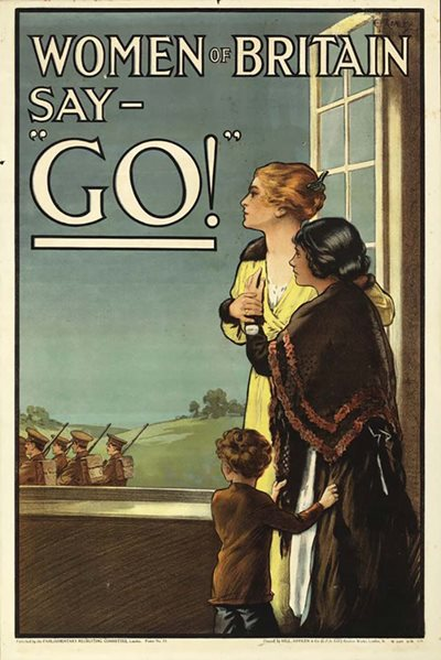 This poster, designed by E. V. Kealey in 1915, shows how the women of the British Empire were expected to encourage their husbands, brothers, and sons to enlist for the war. At the same time, the message attempts to shame those men who had not yet enlisted, and were therefore not protecting their loved ones at home.