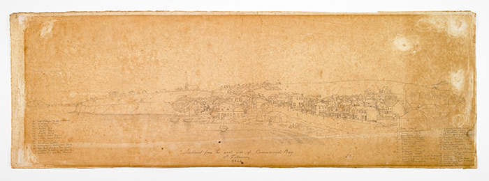 Auckland, as seen from the west side of Commercial Bay, 12 Feb 1844. Drawing by John Adams, with inscriptions from John Logan Campbell.