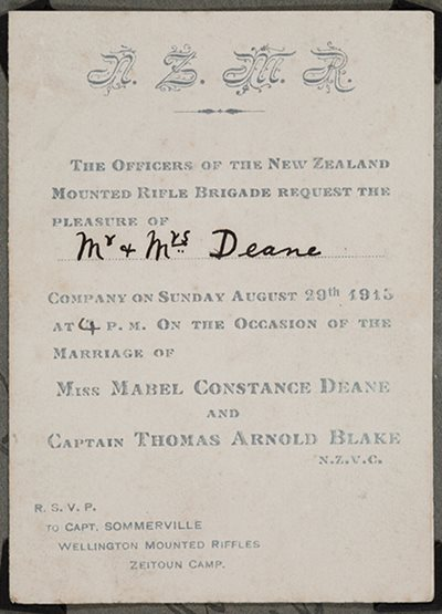 Wedding invitation from Miss Mabel Constance Deane and Captain Thomas Arnold Blake to Mr \u0026 Mrs Dean.