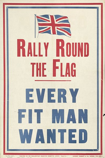 Propaganda poster produced by the Parliamentary Recruiting Committee, London. WWI.