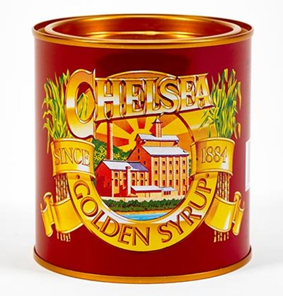 Golden Syrup tin, printed metal, purchased 2015.
