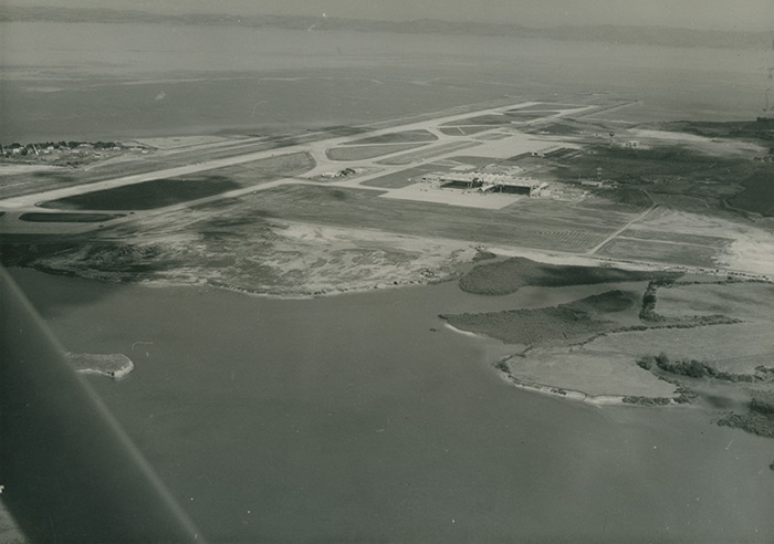 Auckland Airport under construction.
