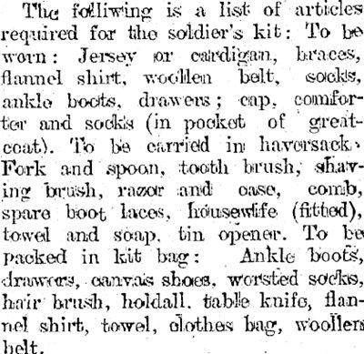 The packing list for soldiers was published in newspapers across New Zealand.