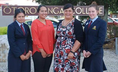 Labour MP Nanaia Mahuta with some of the young women that led the petition.