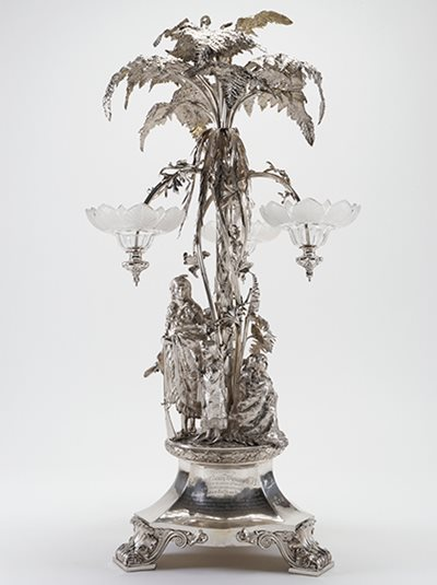 The epergne was made in 1858 by London silversmiths Smith \u0026 Nicholson.