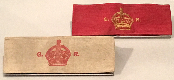 The government issued armbands for men who were exempt from service.