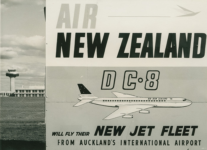 In 1965, Tasman Empire Airways Limited (TEAL), was renamed Air New Zealand. A new jet base was opened at the Auckland Airport site to accommodate the airline\u0027s new DC8 fleet.