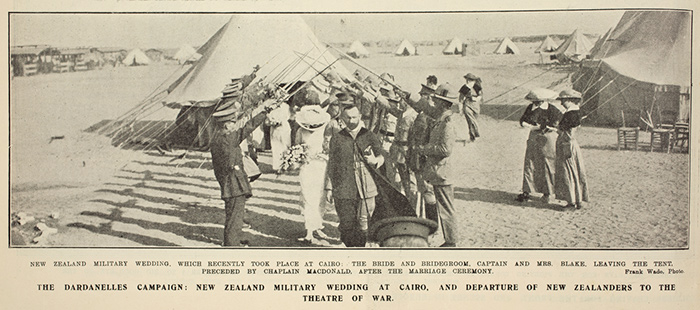 New Zealand military wedding, which recently took place at Cairo: The bride and bridegroom, Captain and Mrs Blake, leaving the tent, preceded by Captain-Chaplain MacDonald after the marriage ceremony.