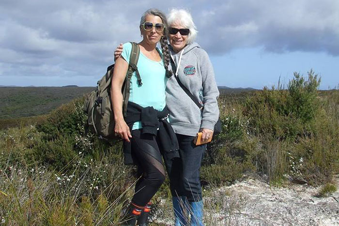 My mother and I standing on our whenua