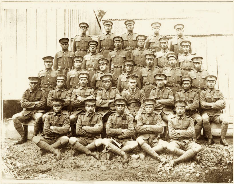My Grandfather, Kakepare Tariu is sitting at the front with the bugle on his lap. His brother Okore Tariu is right 2nd 3rd row from the front.