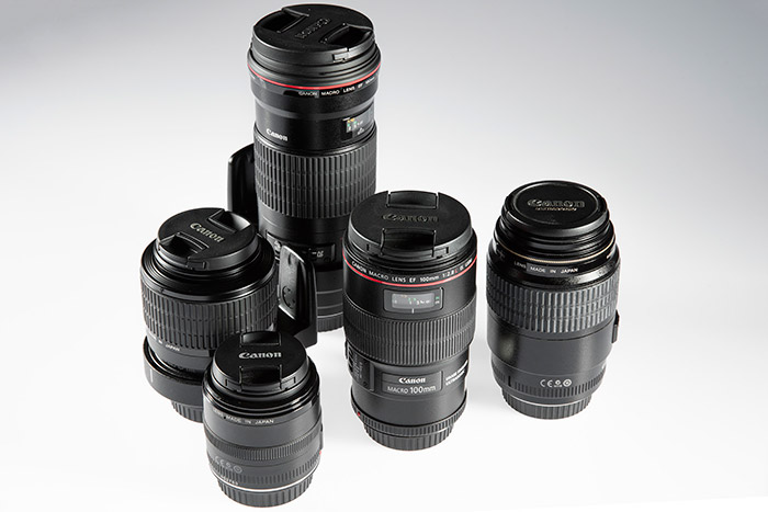 Some of the tools of our trade — our five macro lenses.