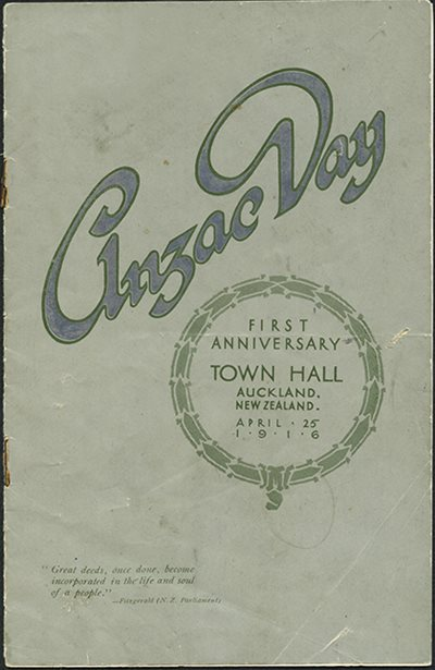 The Anzac Day programme 1916.