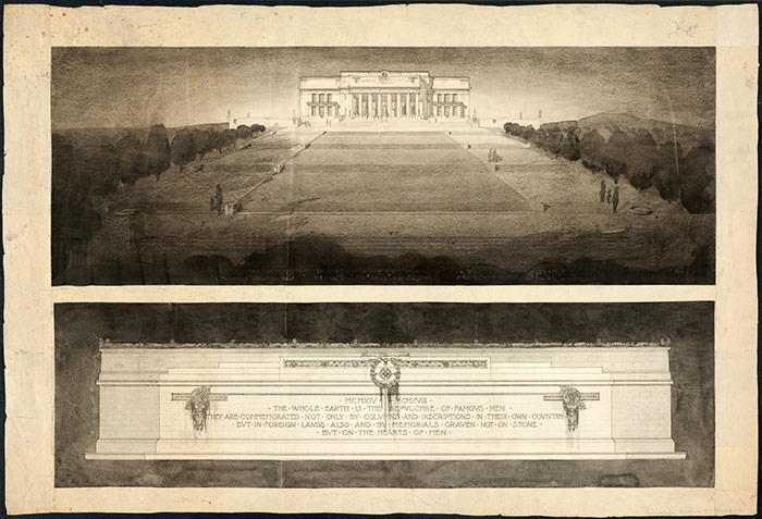 "The architects\u0027 design for the Museum, which was to be ""Auckland's undying memorial to her glorious dead."" This drawing pairs a long view of the north face of the building with a detail of the inscription upon the façade of a funeral oration by Pericles."