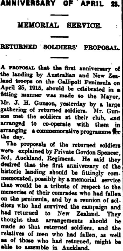 A memorial service commemorating the first anniversary of the landing at Gallipoli was proposed by a group of returned soldiers in February 1916.