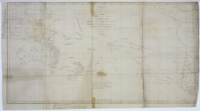 \u003cem\u003eChart of part of the South Sea\u003c/em\u003e shewing the tracts and discoveries made by His Majesty\u0027s ships Dolphin, Commodore Byron, \u0026 Tamer, Capn Mouat, 1765, Dolphin, Capn Wallis, \u0026 Swallow, Capn Carteret, 1767, and Endeavor, Lieutenant Cooke, 1769 / engraved by William Whitchurch. London: Strahan \u0026 Cadell, 1773.