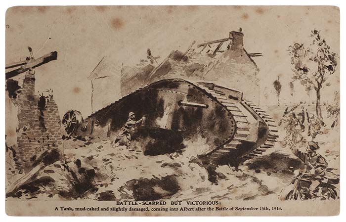 Sketch of one of the first British tanks in the field on the Somme on 15 September 1916, postcard.