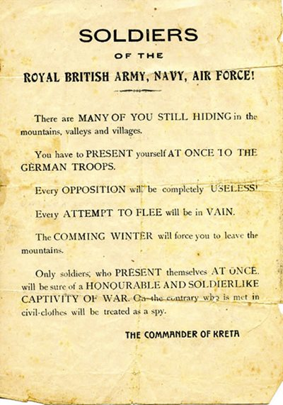 "German flyers addressed to ""Soldiers of the Royal British Army, Navy, and Air Force\"" warned escapees of the consequences of \""attempting to flee\""."