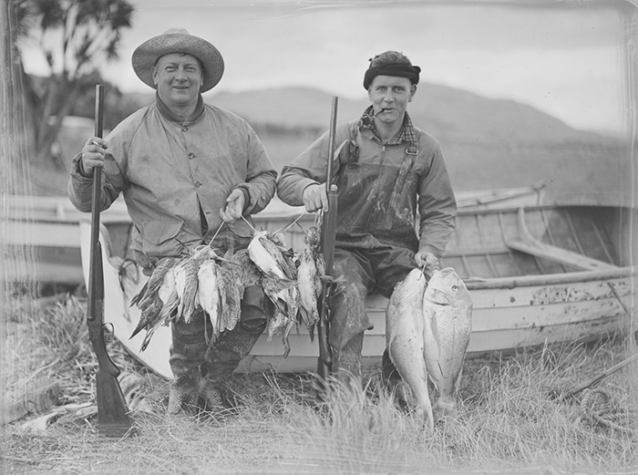 Hunting portrait of two men, 1940.