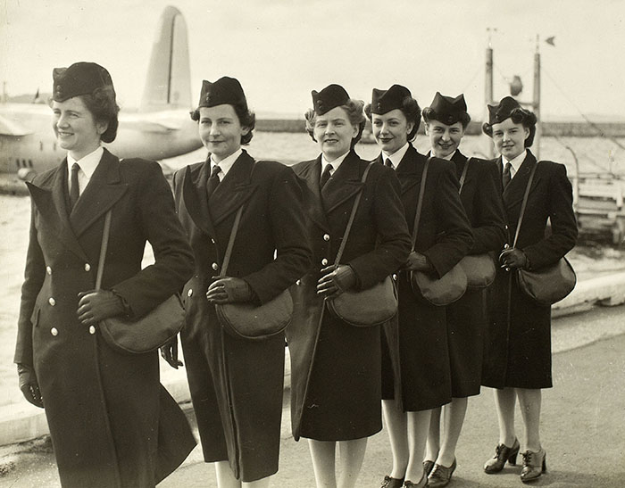 The first flight stewardesses from Tasman Empire Airways Limited (TEAL) in 1946. Six were appointed from 3,000 applicants. From left: Betty Morton, Val Beckett, Launa Magnus, Judy Everand, Joyce Patterson, Pat Woolley.